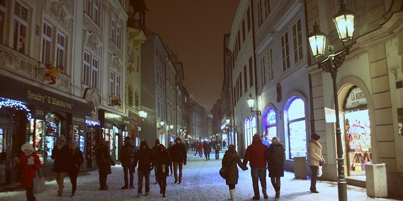 winter street scene prague